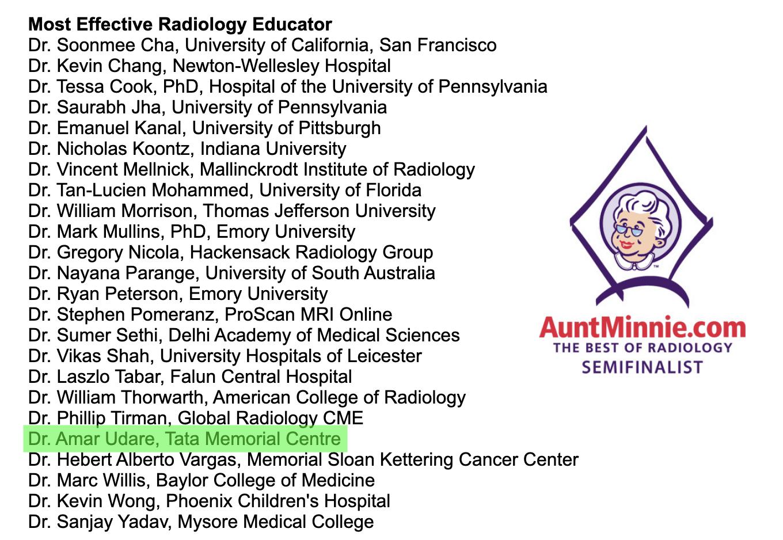 AuntMinnie 2018 Effective Radiology Educator