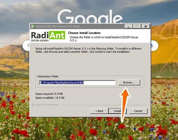 Radiant DICOM viewer install location