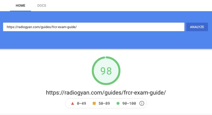 RadioGyan PageSpeed Score